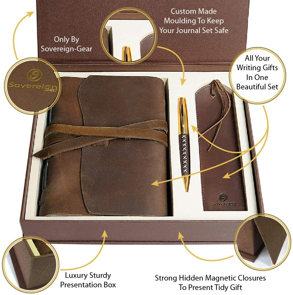Leather Journal Gift Set with Antique Leather Bookmark + Pen